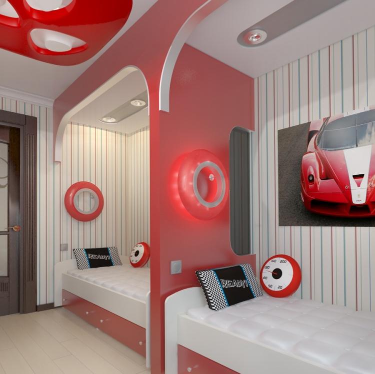 Дизайн ванной в красном черном белом цвете