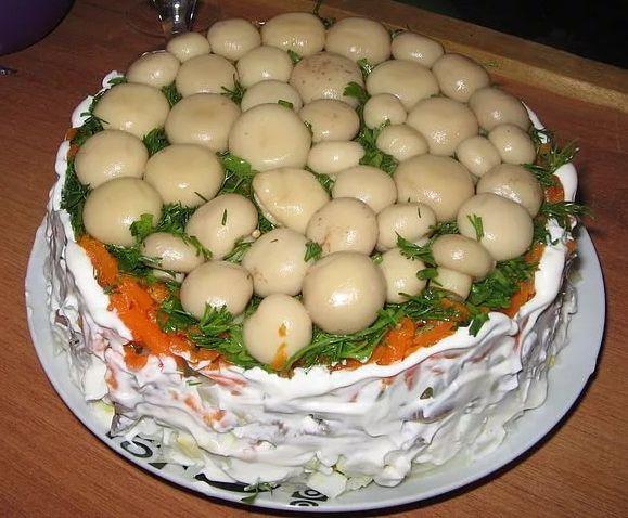 Как сделать салат грибная поляна