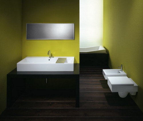 Черный и зеленый в ванной