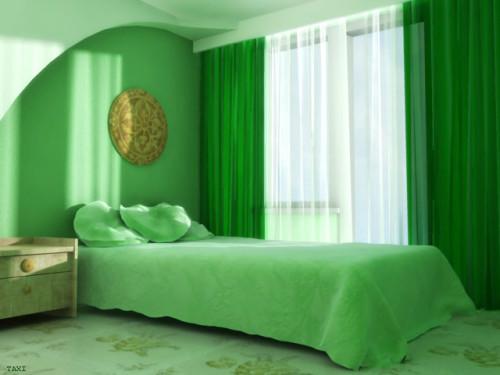 спальня в зеленом