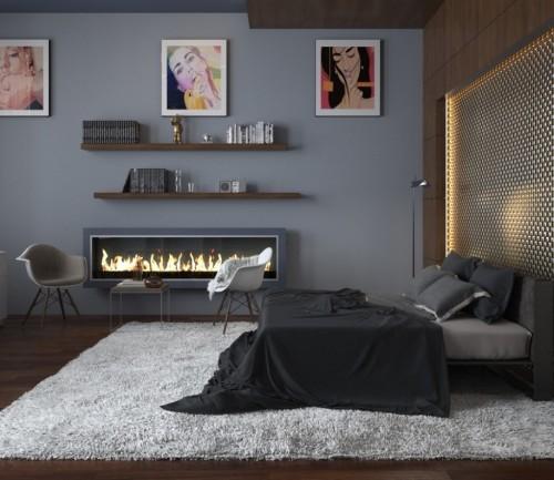 серый в спальне