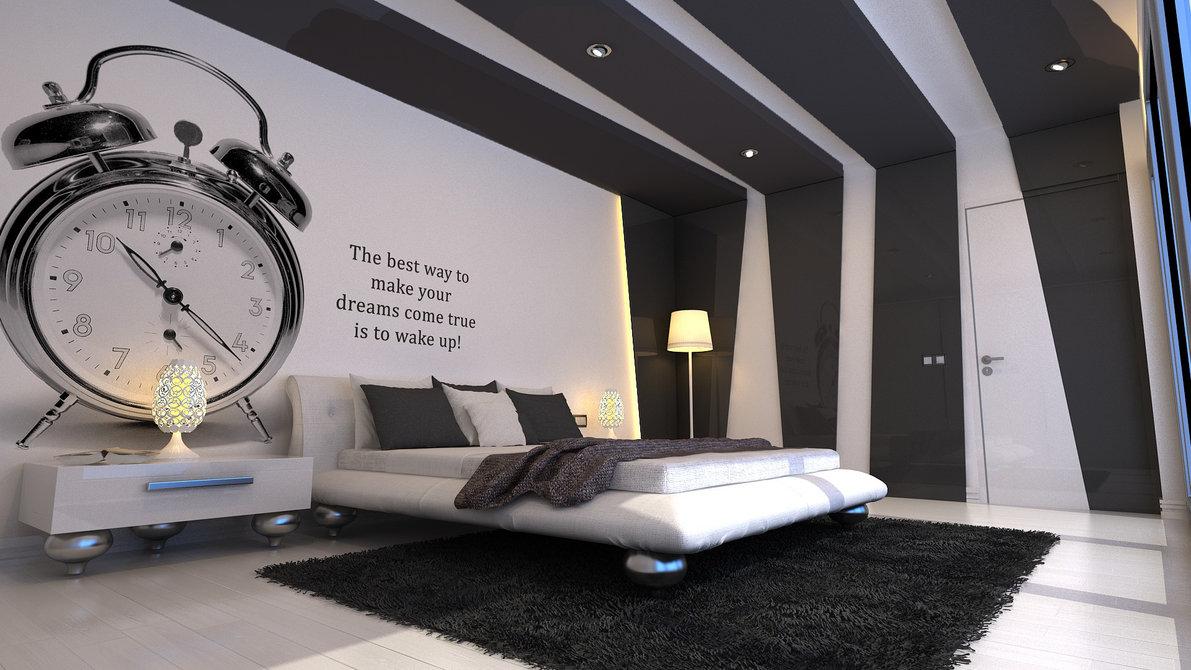 спальня вчерно-белых тонах