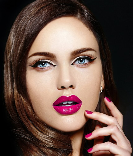 High fashion look.glamor closeup portrait of beautiful sexy stylish Caucasian young woman model with bright makeup, with pink natural lips, with perfect clean skin