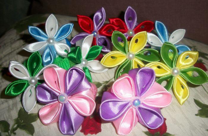 Заколки для волос своими руками с цветами
