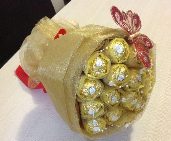 Букеты конфет с пошаговым изготовлением