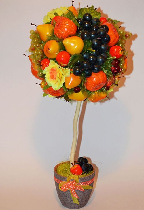 Топиарий из цветов и фруктов своими руками фото 1