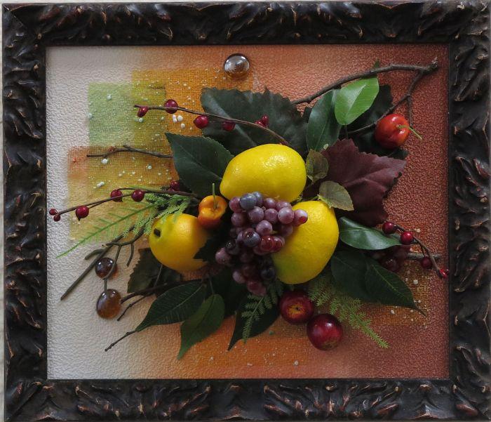 213Как сделать картину из искусственных фруктов своими руками