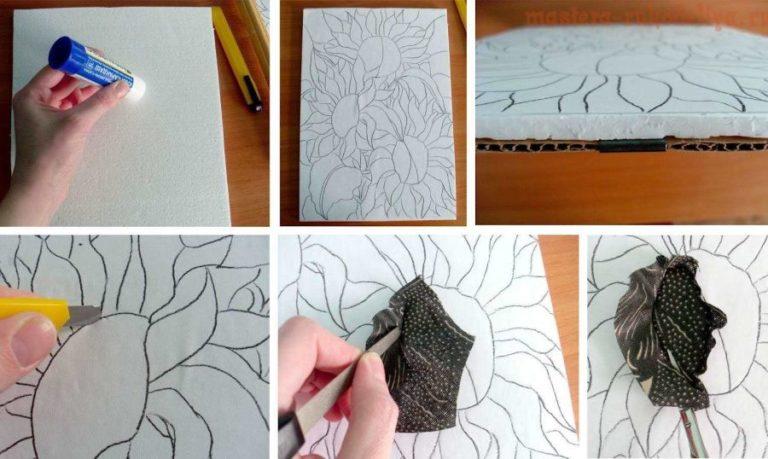 Картины из ткани на пенопласте своими руками