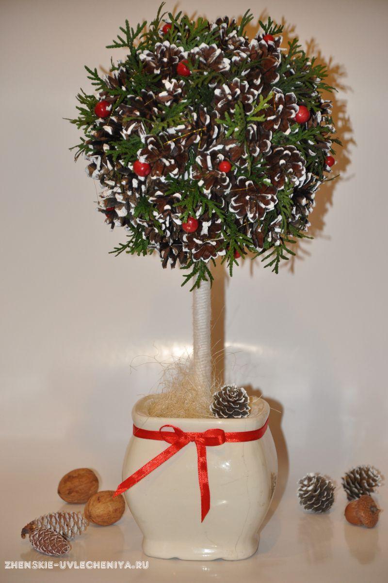 Большие напольные деревья из шишек и цветов 150