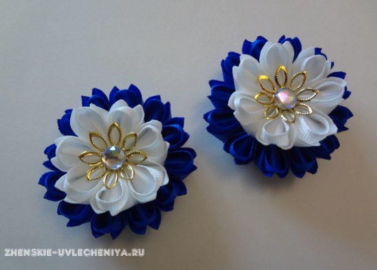 Резинка канзаши из репсовой ленты: мастер-класс по сборке бело-синего цветка