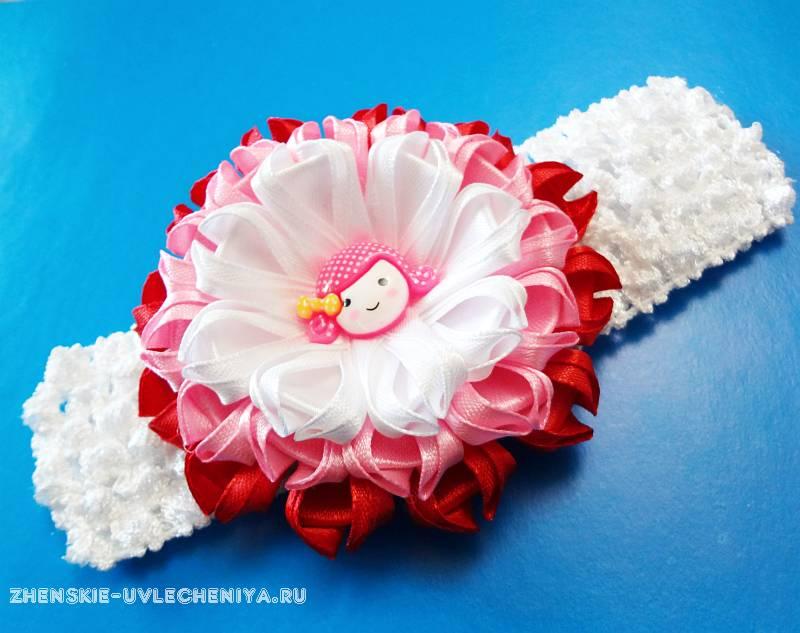 Цветок для заколки из ленты своими руками