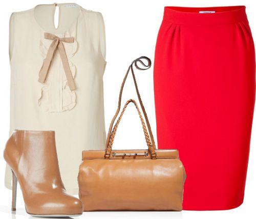 Красная юбка в сочетании с белым