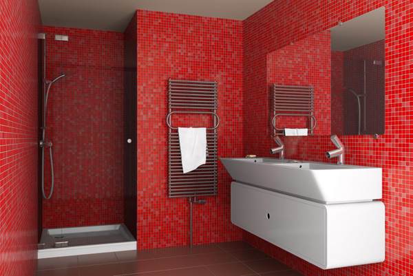 ванная красная с белым