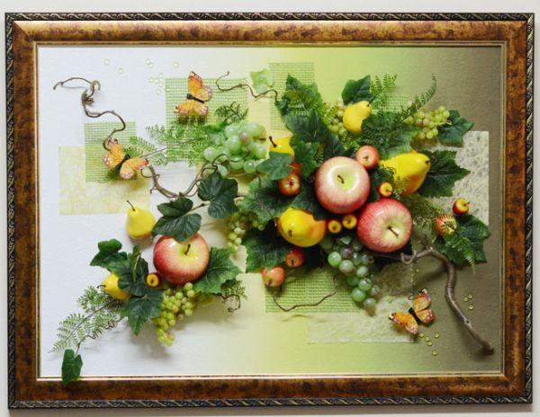 Картины своими руками из фруктов искусственных