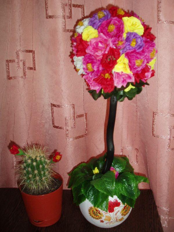 топиарий из искусственных цветов своим руками