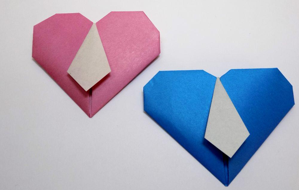 сердечко оригами с галстуком