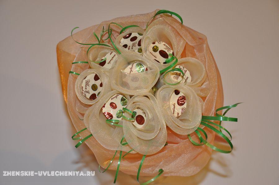 Букеты из органзы с конфетами своими руками 91