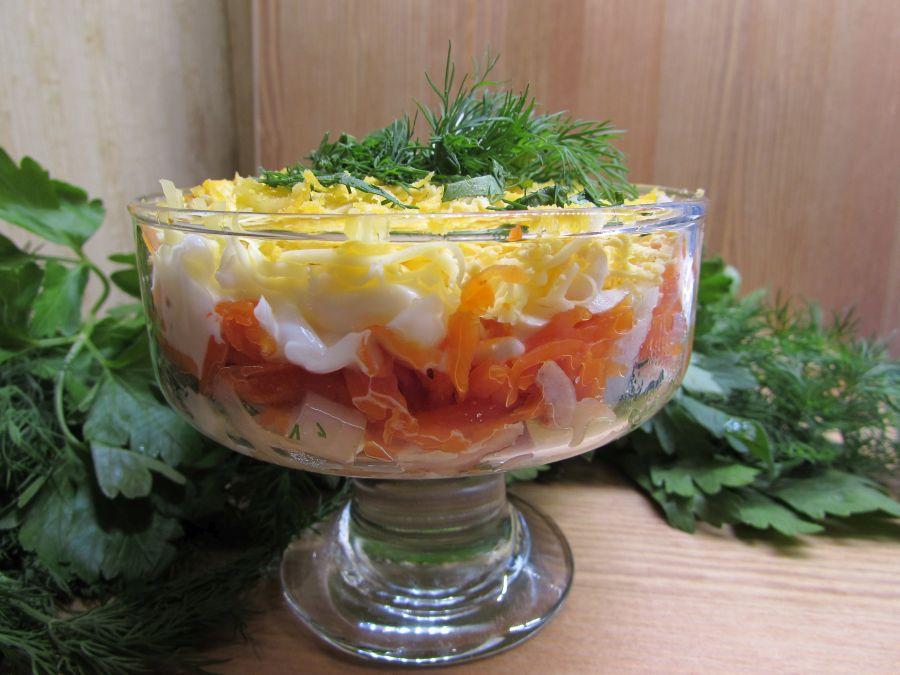 вкусный салат с печенью трески рецепт фото