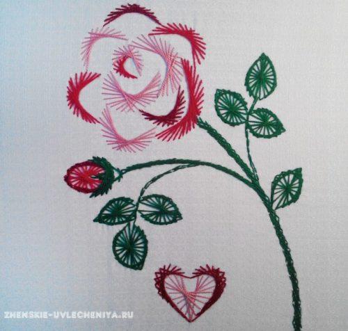 роза в технике изонить