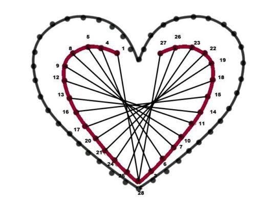 схема сердца для вышивки изонить