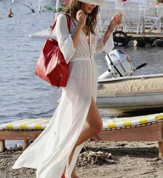 75088c5a183a722 Наряд в виде балахона можно использовать как пляжное платье для полной  женщины. Бесформенный силуэт надежно прикроет результаты любви к плотному  ужину и ...