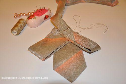 украшение из мужского галстука, мастер-класс