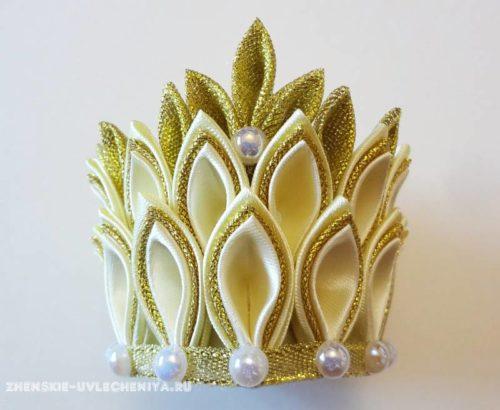 корона в технике канзаши, фото