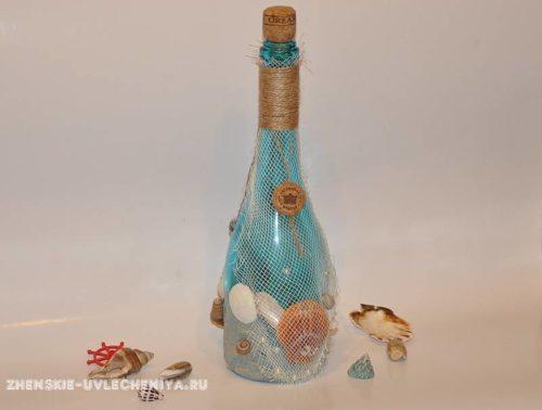 Бутылка в морсом стиле, мастер-класс