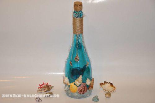 Декор бутылки в морском стиле своими руками