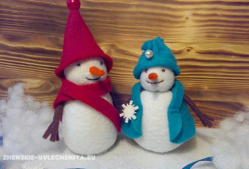 снеговик из фетра, мастер-класс