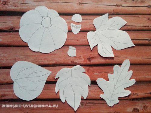 шаблон листьев из фетра