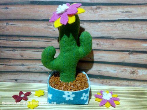как сделать кактус из фетра