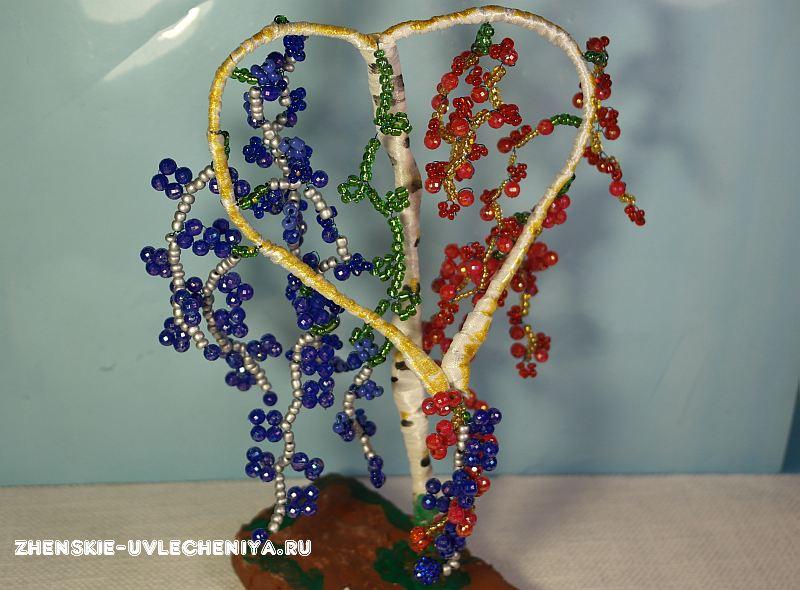Дерево сердце из бисера схема плетения
