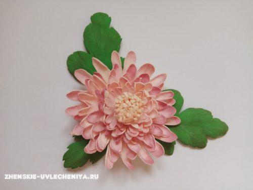 красивая хризантема из фоамирана, мастер-класс