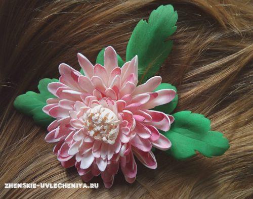 хризантема для заколки