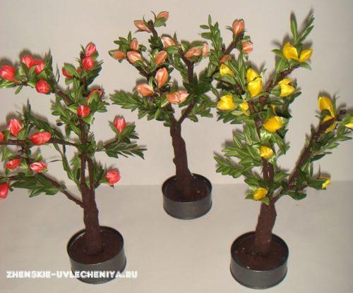 Деревья из искусвенных цветов