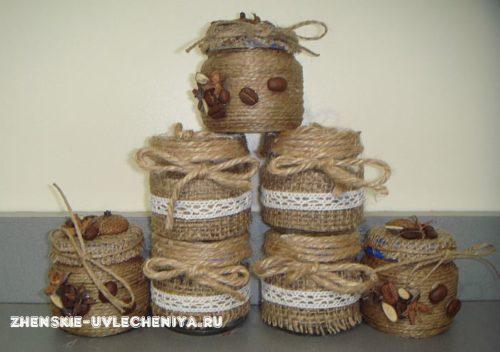 декор баночек для специй мешковиной