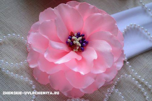 Повязка для девочки с цветком из лент МК