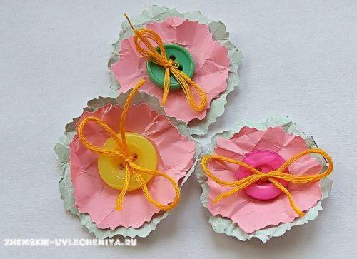 Бумажные цветы для открытки