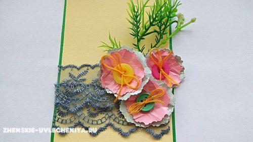 Декор открытки цветками