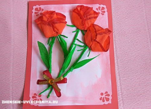 Открытка с бумажными цветами