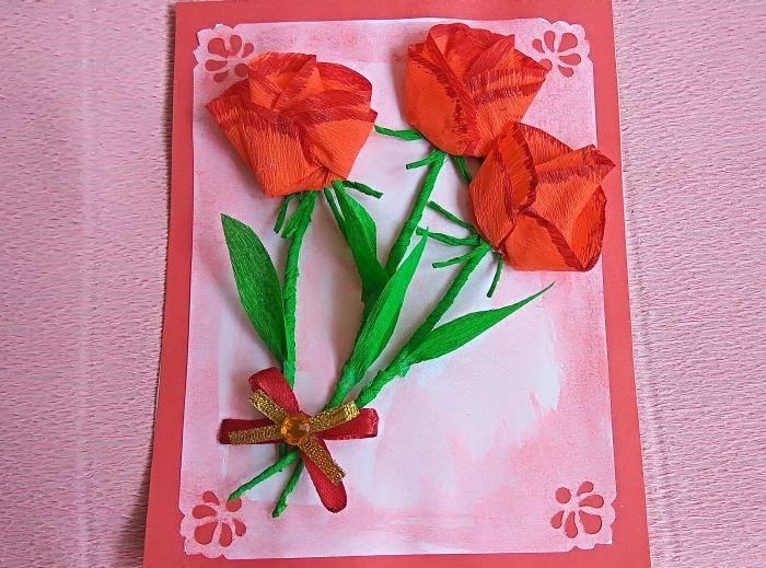 Цветы из гофрированной бумаги мастер класс на открытку, днем